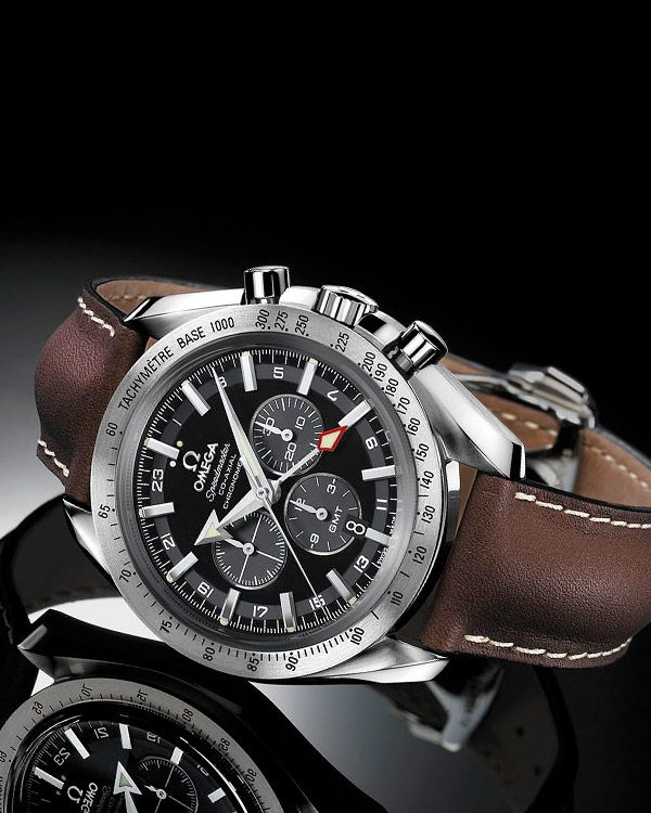 OMEGA Watches: Speedmaster Broad Arrow Co-Axial GMT Chronograph 44.25 mm - Steel on leather strap - 3881.50.37