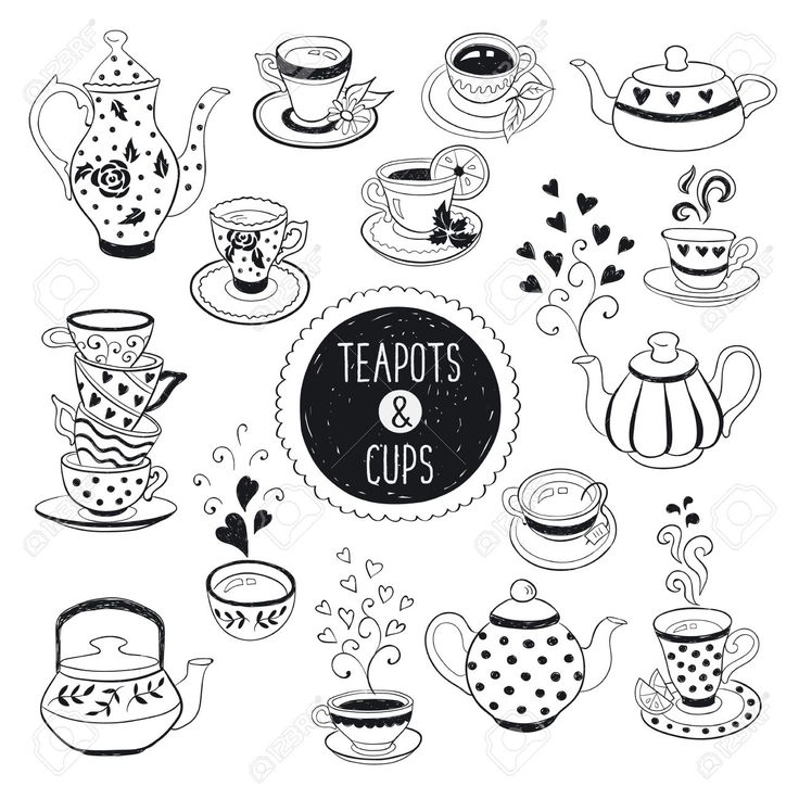 Hand Drawn Teapot And Cup Collection. Doodle Tea Cups, Coffee.. Royalty Free Cliparts, Vectors, And Stock Illustration. Image 47489544.