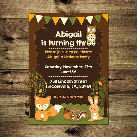 Spring Woodland Animals Birthday Invitation by PapierMignonID