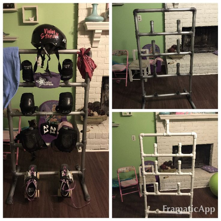 My roller derby gear rack. Spray painted to look like industrial piping.