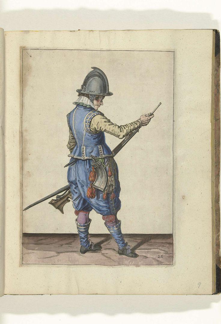 Soldaat die de pan van zijn roer sluit (nr. 17), ca. 1600, Jacob de Gheyn (II), 1597 - 1608