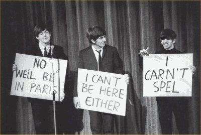 If you don't get this, Ringo is holding up that sign because he missed a lot of schooling as a kid due to his many illnesses..... And he is just freakin awsome. That's why he's my favorite!