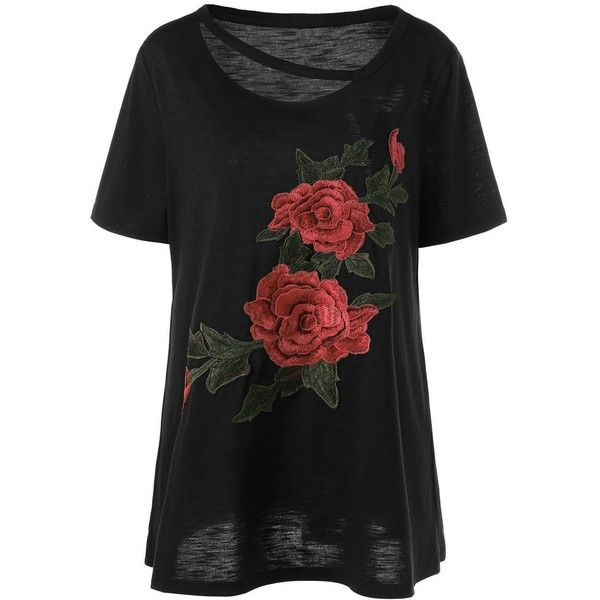 Embroidered Floral Plus Size T Shirt ($16) ❤ liked on Polyvore featuring tops, t-shirts, embroidery t shirts, womens plus tops, embroidered t shirts, floral tee and floral print tops