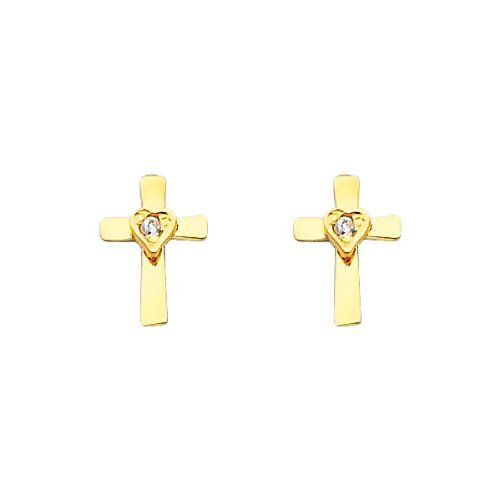 14K Yellow Gold Cross Heart CZ Stud Earrings with Screw-back for Baby & Children The World Jewelry Center. Save 64 Off!. $42.00. Promptly Packaged with Free Gift Box and Gift Bag