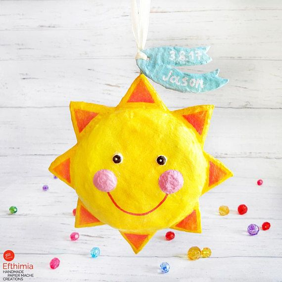 Personalized Baby Boy Gift New Born Sun Decoration Sun   #papermache #papiermache #papiermâché #papersculpture #newborngifts #babyboygifts #sun #sunornament #newmom #sundecor #kidsroomdecor #ooakgifts #paperart #papersculpture #cartapesta #babypresent #parenting ##nurserydecor #nurserygifts #nurseryroomdecor