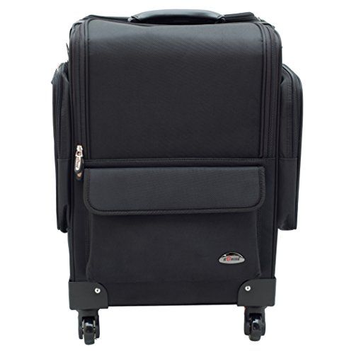 SUNRISE Soft Makeup Case on Wheels Professional Storage, 4 Wheel Spinner, 8 Trays with Adjustable Dividers, Outside Pockets, Black Nylon C6403 -- Want additional info? Click on the image. #MakeupOrganizer