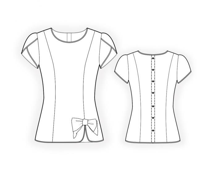 Blouse With Piping   - Sewing Pattern #4424 Made-to-measure sewing pattern from Lekala with free online download. Fitted, Princess seams, Asymetrical, Buttoned, Wrap, Round neck, No collar, Short sleeves, No pockets