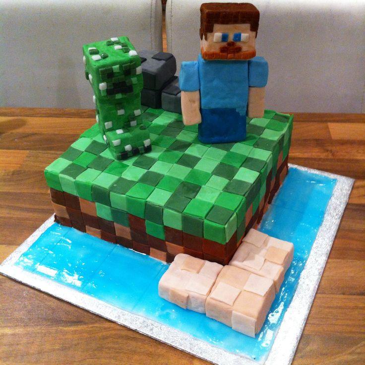 Minecraft steve and creeper cake minecraft party by - Minecraft creeper and steve ...