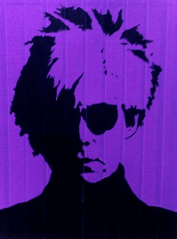purple duct taped 16x20 street art stencil of by alliwonderland