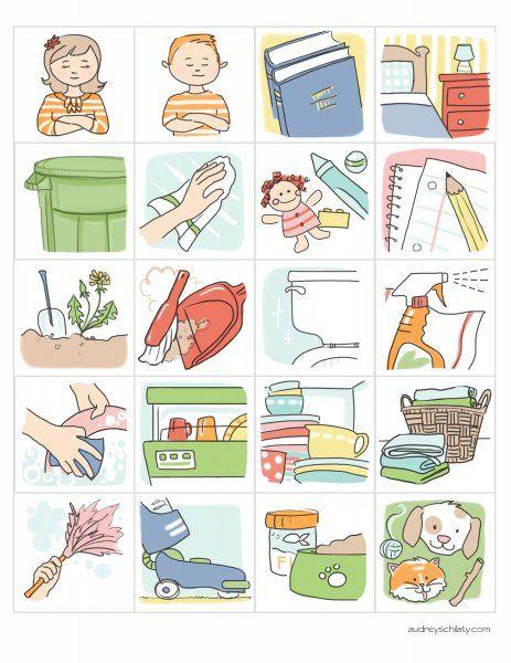 Iconos - Calendario de tareas para niñas y niños