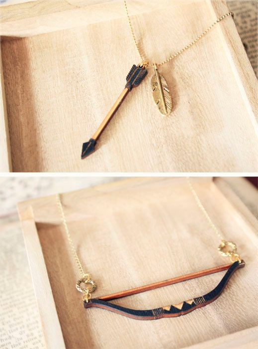 Tribal Bow and Arrow layered Necklace - Hunger Games inspired. $21.90, via Etsy.
