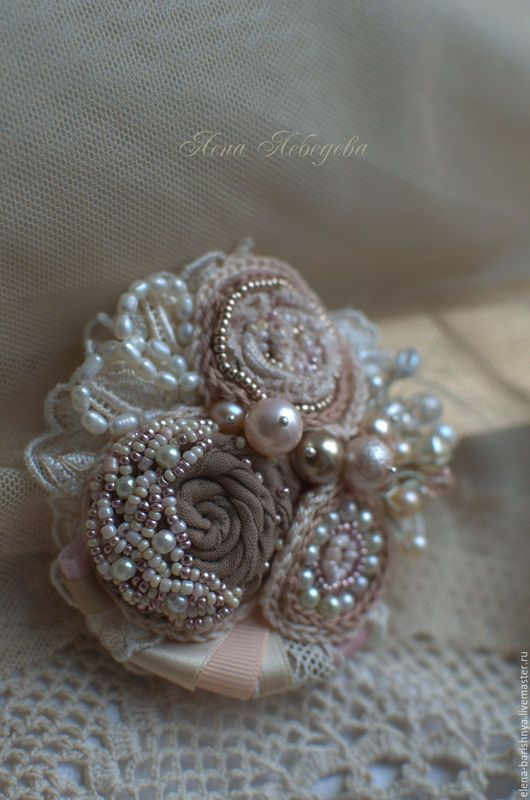 Beautiful textile brooch with beads