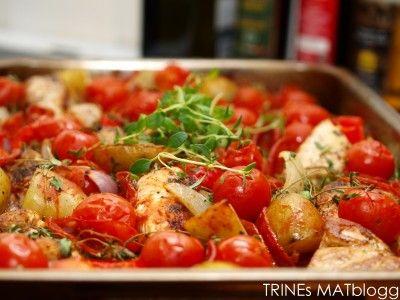 Ovnsbakt chilikylling med chorizo, tomat og poteter - TRINEs MATblogg