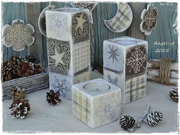 """Купить Подсвечники """"Снежные узоры"""".Набор. - подсвечники, подсвечник из дерева, подсвечники новогодние, Новый Год"""