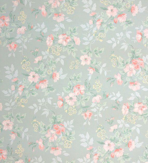 1940's+Vintage+Wallpaper++Floral+Wallpaper+by+HannahsTreasures,+$14.00