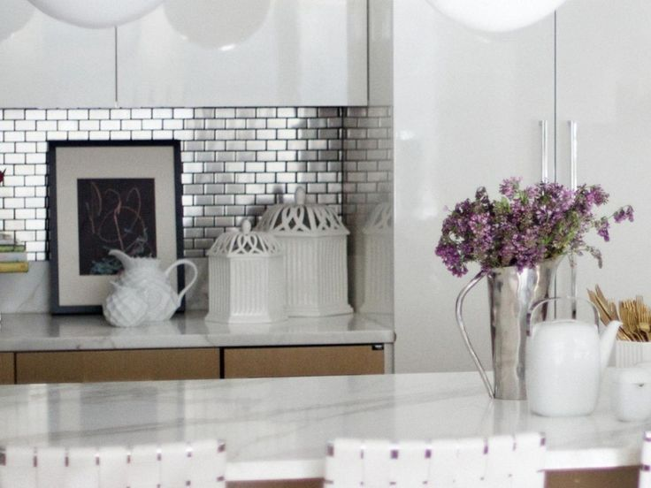 Hypnotic Stainless Steel Kitchen Backsplash Ideas On Subway Style Tile Pattern Above White Carrara Marble Kitchen Countertops Also Mdf Board Kitchen Cabinets In White from Real Simple Kitchen Ideas