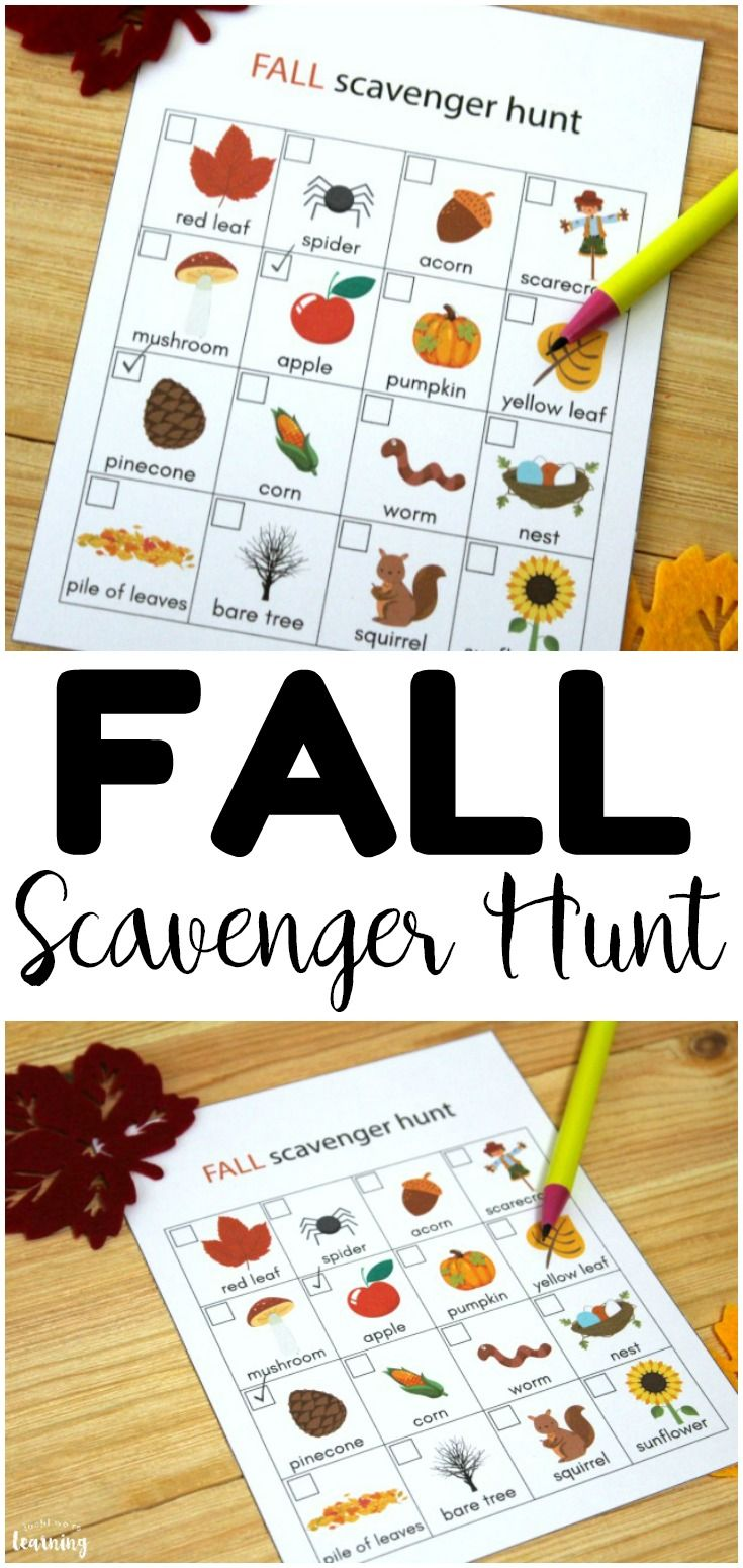 Printable Fall Scavenger Hunt for Youngsters