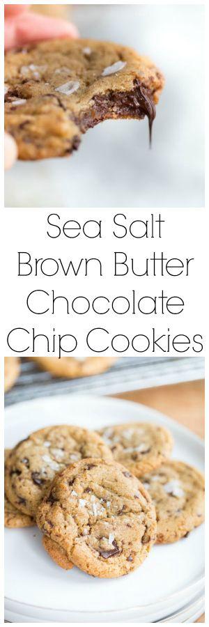 USE DARK CHOCOLATE BAR BROKEN INTO CHUNKS! Sea Salt Brown Butter Chocolate Chip Cookies