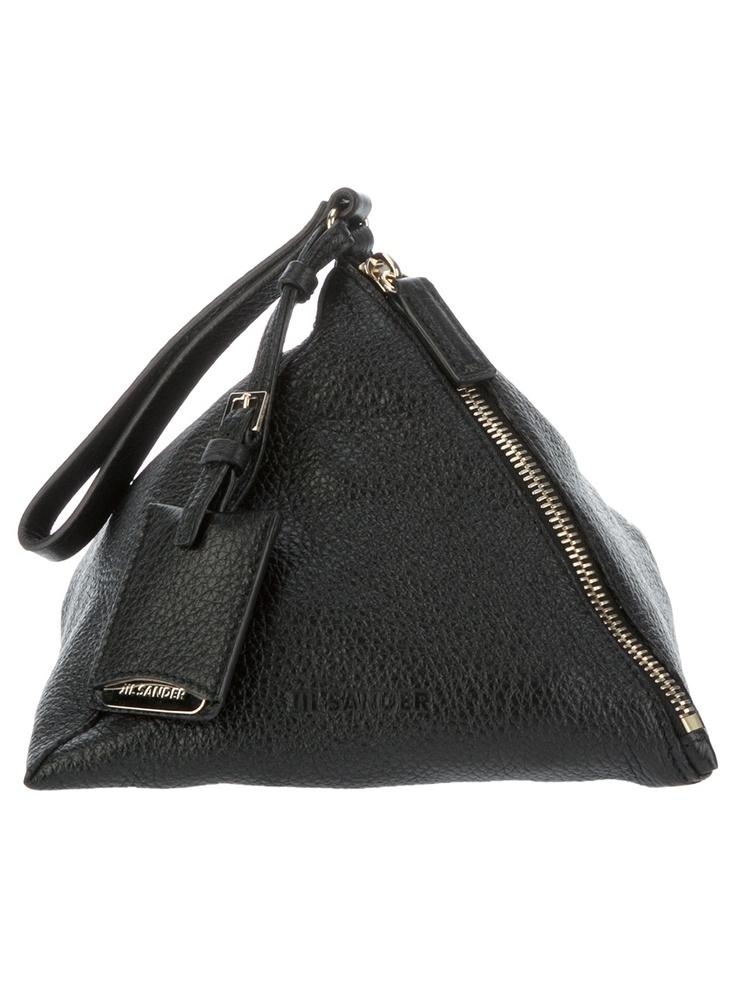 Jil Sander Italian Hand Beaded Leather Sculptural Clutch Handbag By, Jil Sander