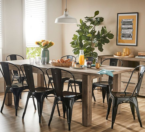 Toronto 9 Piece Extendable Dining Set With Replica Tolix Chairs 6 Seater Dining Table Dining Extendable Dining Table