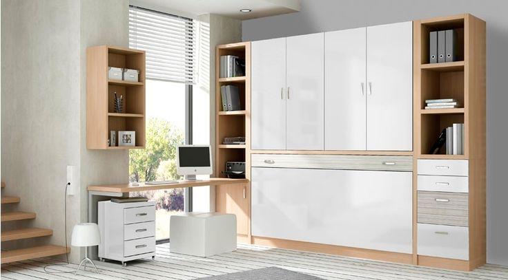Mueble con cama de 90x190 cm. Somier independiente de lamas de madera y colchón de hasta 20cm. Varias medidas de cama disponibles.