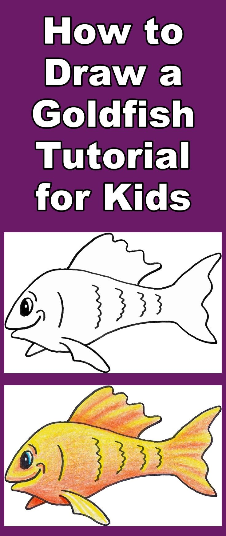 Follow the video as you learn how to draw and then color this friendly cartoon goldfish. Includes a free downloadable coloring page.