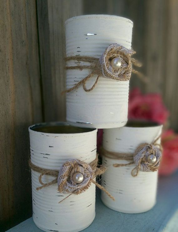 3 Shabby Chic Painted White Tin by SweetVintageLingerie on Etsy