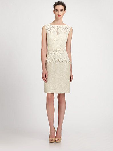 Teri Jon - Lace/Bouclé Dress - Saks.com