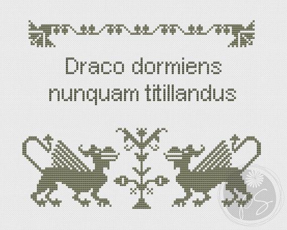 Harry Potter Hogwarts motto cross stitch pattern