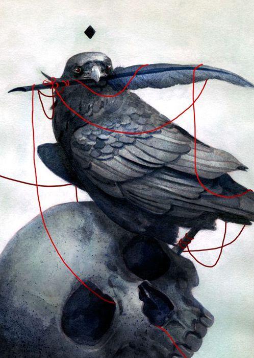 El cuervo, Poe, ilustración  ¡Visita www.momoko.es! :D #Poe #cuervo #momoko #momoko_blog #libros #blog #literatura #ilustración #fanart