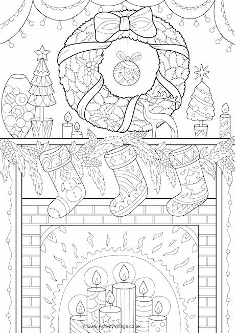 Christmas mantelpiece colouring page