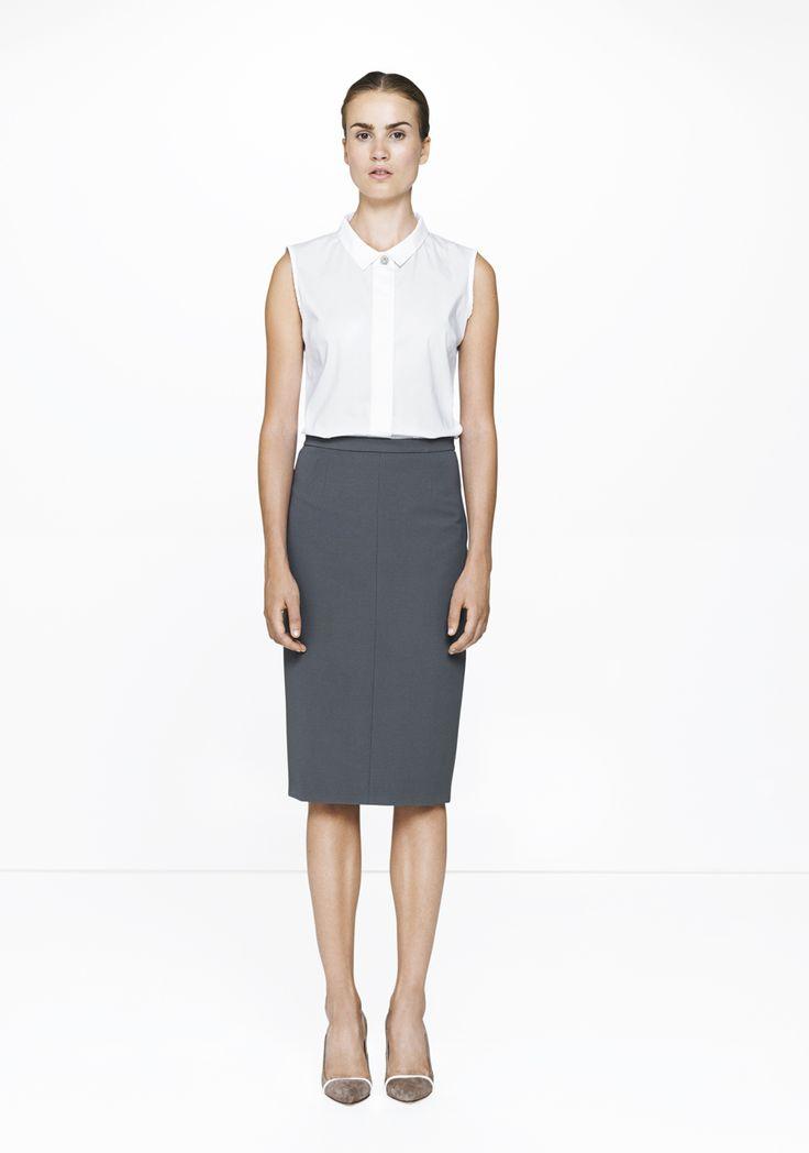 Grey JVU pencil skirt with a sleeveless silk shirt /365/248-4141  ELISE GUG SS15