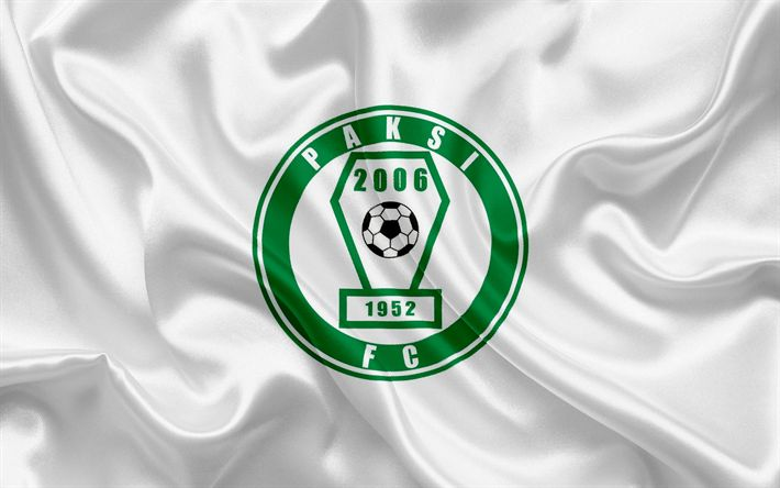 Descargar fondos de pantalla Paksi FC, Hungarian equipo de fútbol, Paki emblema, logo, bandera de seda, Kalocsa, Hungary, fútbol, Hungarian football league
