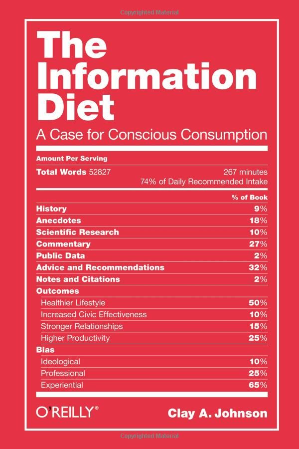 A brilliant cover - The Information Diet: A Case for Conscious Consumption by  Clay A. Johnson: Clay, Worth Reading, Fasion Zone, Diet, Cases, Weight Loss, Books Worth, Johnson, Conscious Consumption