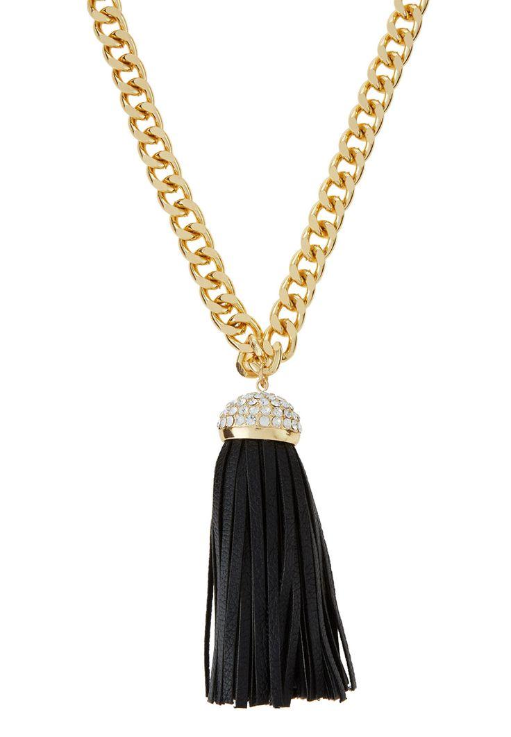 Giselle Black & Gold Fringe Pendant Necklace