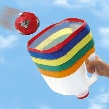 Recycle those milk jugs and make a homemade ball toss game with the kiddos.