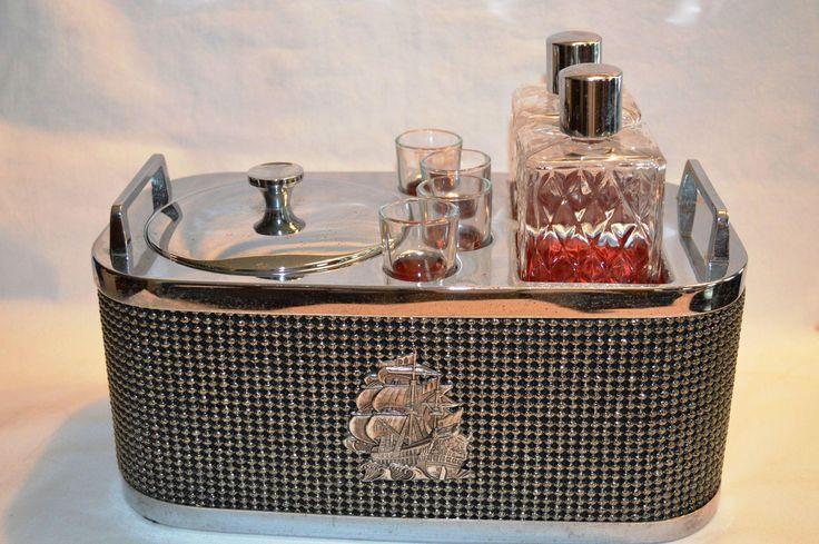 Mid-Century Musical Chrome Bar Caddy Set ~2 Decanters ~ 4 Shot Glasses ~ Ice Bucket