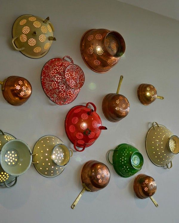 DIY Ideas and Ways to Recycle Kitchen Stuff -- Colander Wall Lights From Pasta Strainers