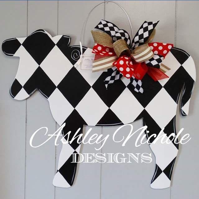 Black and White Chevron Cow Door Hanger, Ashley Nichole