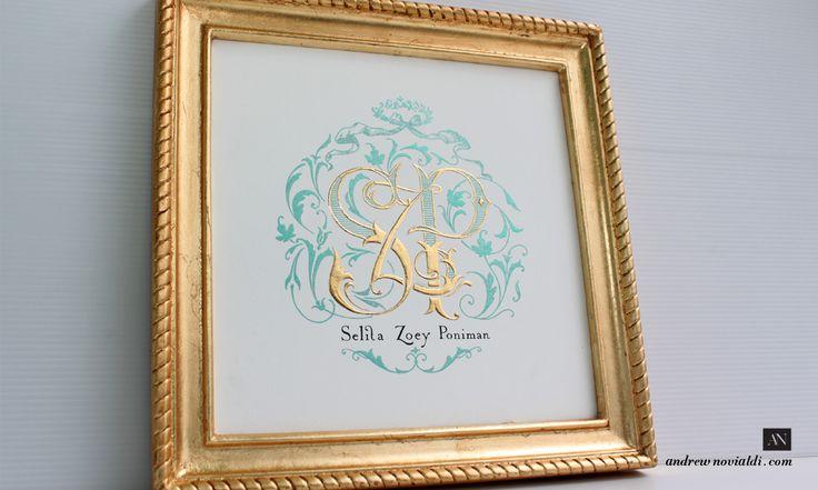 Monogram Design made with Gold Gilding