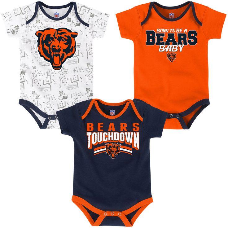 Infant Chicago Bears Navy/Orange/White Playmaker 3-Pack Bodysuit Set