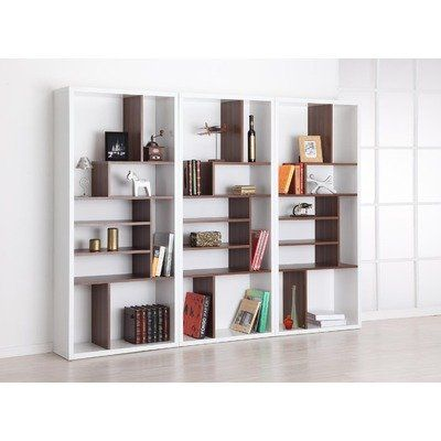 Enitial Lab Fuzion Two Tone Bookcase, Walnut And White Enitial Lab Http:/