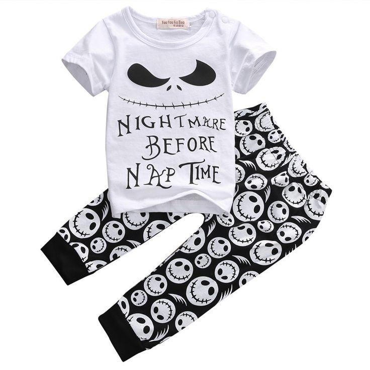 2016 Capretti Del Bambino Vestiti Cranio Set 2 pz Bambino Casual T-shirt + Pantaloni Lunghi Abiti di Halloween Vestiti Set età 0-18 M