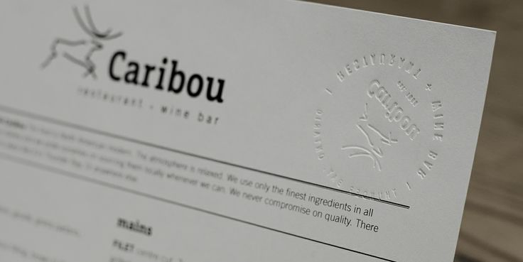 Caribou Restaurant emboss, stamp, deboss, menu – Generator Strategy Advertising | Generator Strategy Advertising, Thunder Bay, Ontario