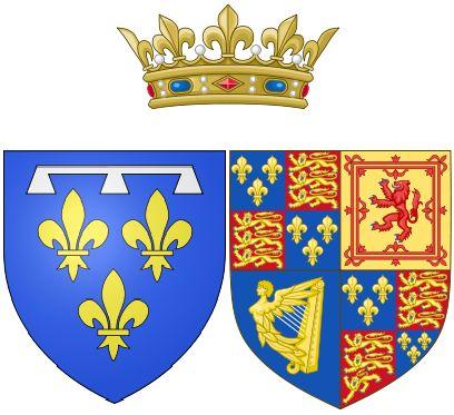 42- Arms of Henriette of England as Duchess of Orléans - § HENRIETTE ANNE D'ANGLETERRE: Les raisons de la mort d'Henriette ne sont toujours pas établies avec certitude à ce jour. Cependant les études modernes sur le rapport d'autopsie et sur l'évolution de l'état d'Henriette les derniers jours penchent pour une occlusion intestinale consécutive à une cholécystite aiguë.