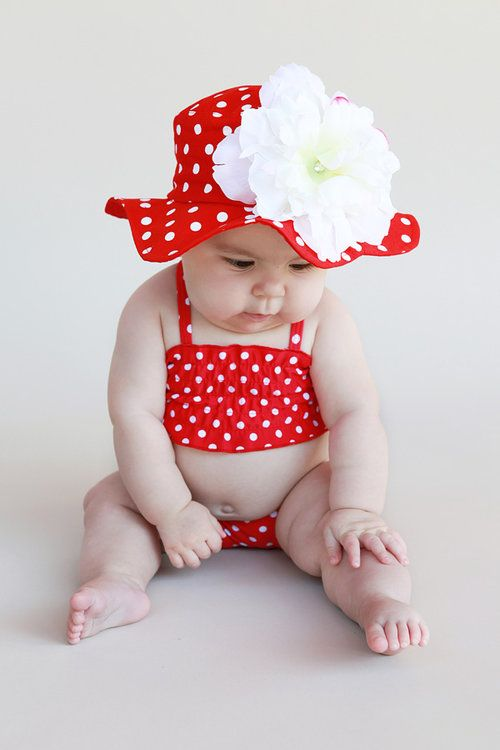 Red Dot with White Peony Flower Sun Hat-hats, sun ,pink, jaime rae, trendy, baby boutique, red, baby shower gift, baby