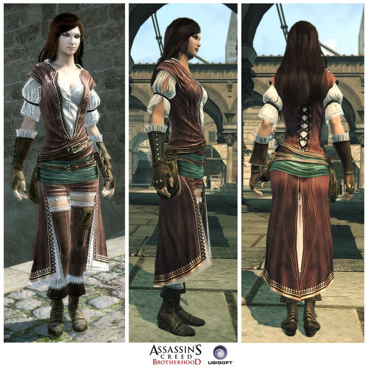 This will be my costume. The character is Fiora Cavazza. She's not actually in Assassin's Creed: Brotherhood story, just the multiplayer section of the game.  The creators of this game took a LOT of license with designing her outfit because no woman would be allowed to walk around with this on during the Renaissance, but she's one of my favorite character's and its a freaking nice outfit!