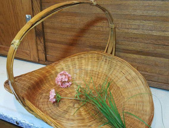 Vintage Hand Weaved Basket, Modern Farmhouse, French Country Wedding, Garden Gathering Harvest Market Centerpiece, Large Hanging Planter