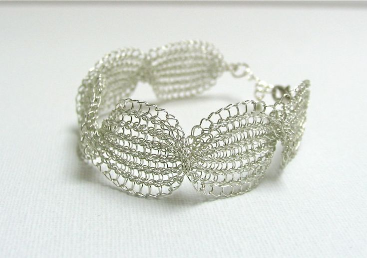 Wedding bracelet Bridal bracelet Wedding jewelry  Wire crochet handmade  bracelet  Wedding Fashion jewellery silver bracelet by KvinTal on Etsy
