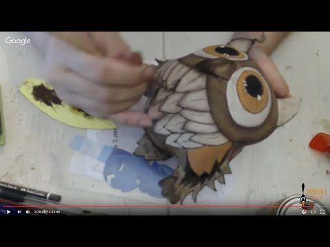 Мастер класс Ученая Сова в технике грунтованный текстиль - YouTube
